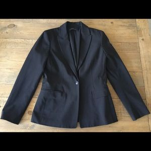 Elie Tahari black striped one button blazer